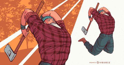 Ilustración de personaje de gente de leñador saltando
