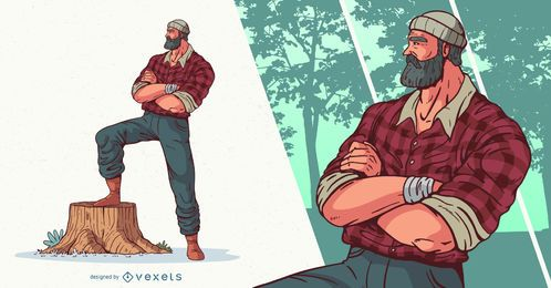 Design de personagens de Arms Crossed Lumberjack