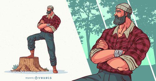 Diseño de personajes de leñador de brazos cruzados