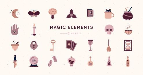 Flat Design Magic Elements Pack