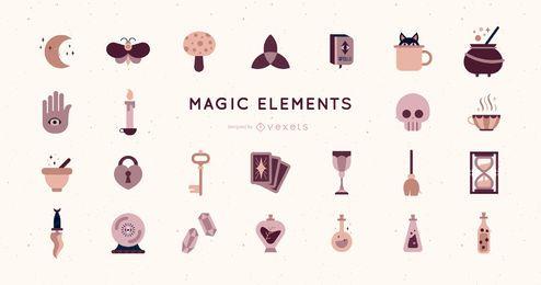 Pacote de elementos mágicos de design plano