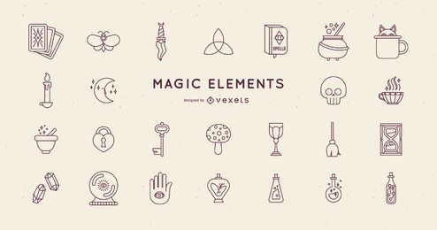 Pacote de design de elementos mágicos