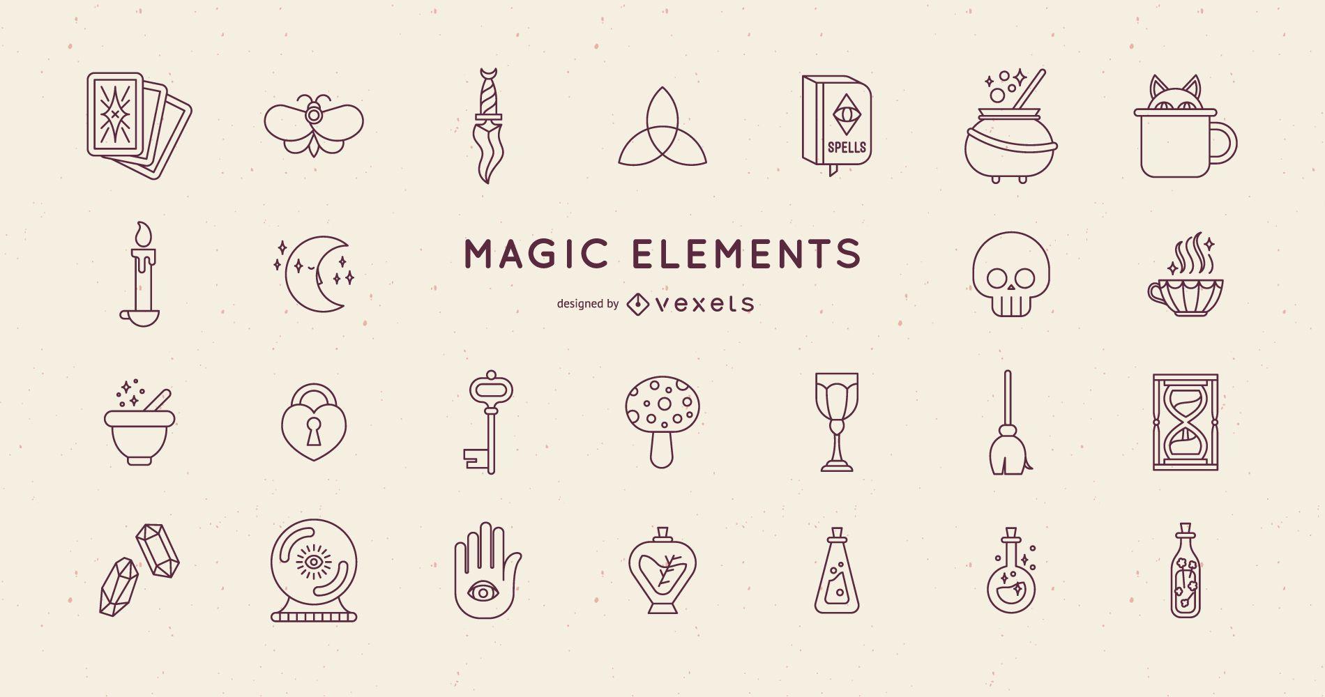 Paquete de diseño de trazos de elementos mágicos