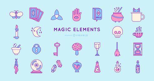 Paquete de diseño de elementos mágicos de colores
