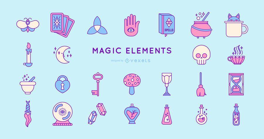 Colored Magic Elements Design Pack