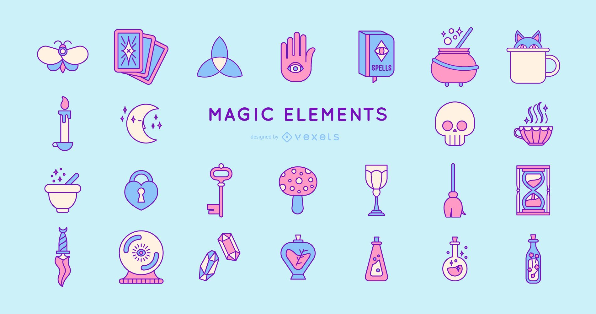 Pacote de design de elementos m?gicos coloridos