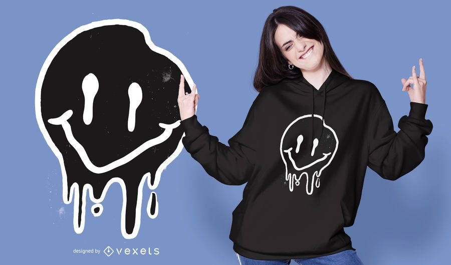 Diseño de camiseta negra sonriente