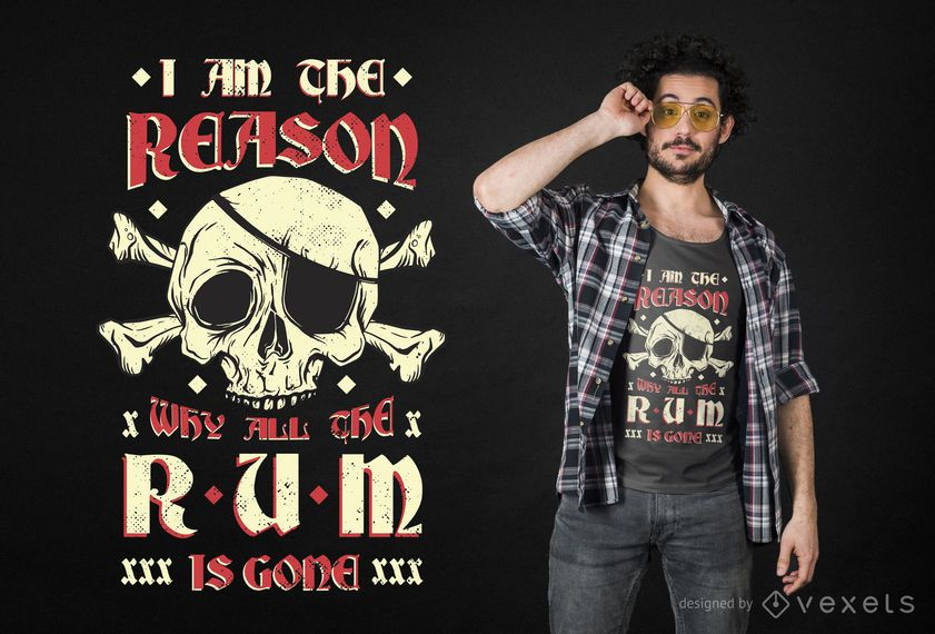 Design de t-shirt de pirata de rum
