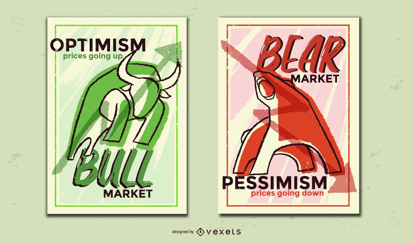 Design do cartaz do urso-touro do mercado de ações