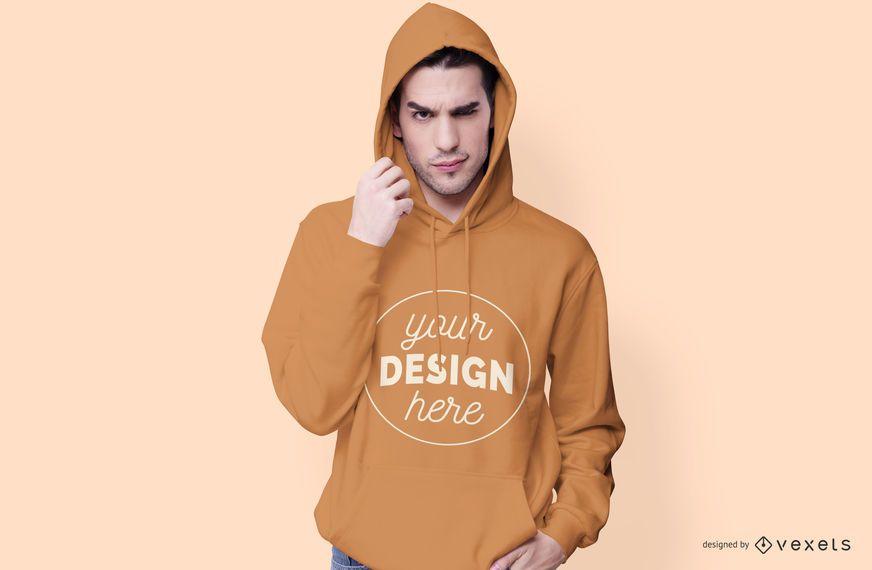 Maqueta con capucha modelo masculino - Descargar PSD