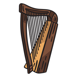 Celtic harp musical instrument illustration