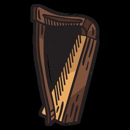 Ilustración de instrumento musical de arpa celta