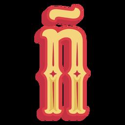 Letra abc mexicana ñ icono