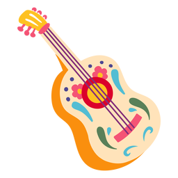 Mexican guitar acoustic decorative illustration