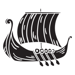 Ancient viking ship black
