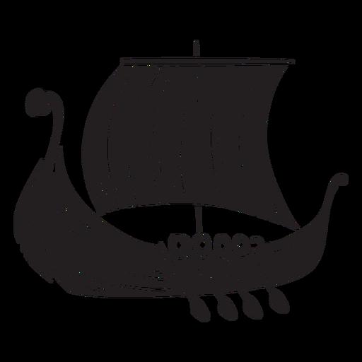 Altes Wikingerschiff schwarz Transparent PNG