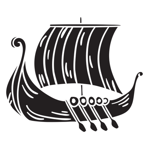 Ancient viking ship black Transparent PNG