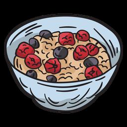 Ilustração de comida de prato de muesli Bircher