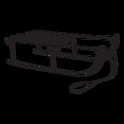 Ilustración plana trineo negro
