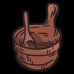 Cubo cucharón sauna finlandia ilustración