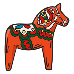 Ilustración de estatua tradicional de caballo Dala