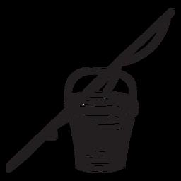 Ilustración de caña de pescar cubo negro