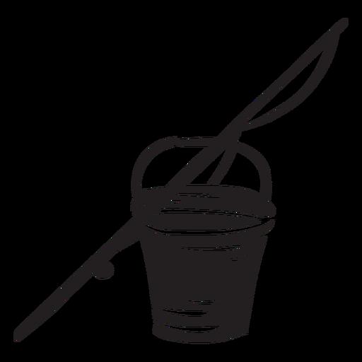 Fishing bucket rod black illustration