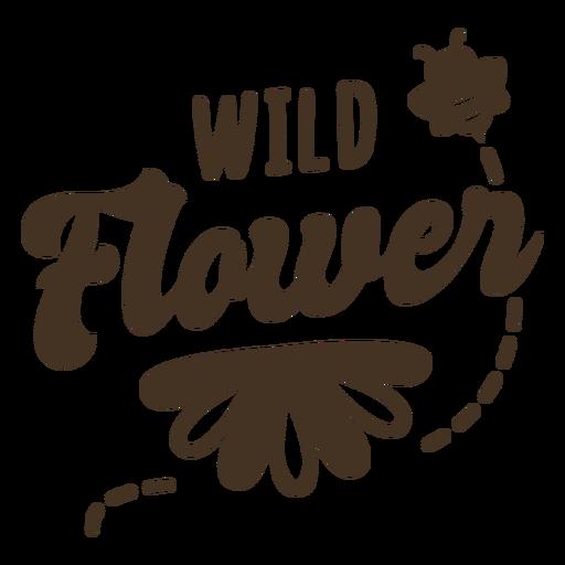 Flying bee flower lettering Transparent PNG