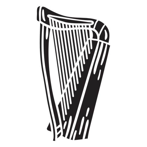 Harp celtic instrument music black Transparent PNG