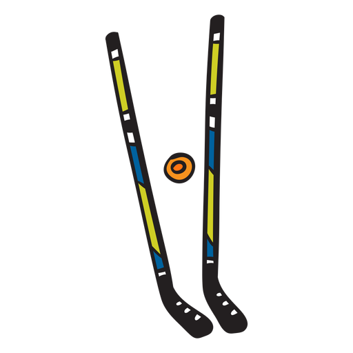 Ilustración de deportes de disco de palos de hockey