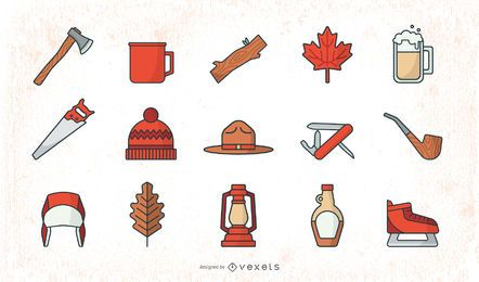 Flat Lumberjack Elements Set