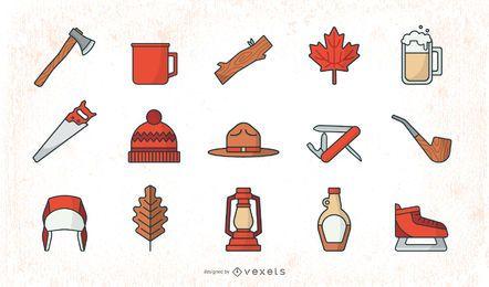 Flat Lumberjack Elements Set