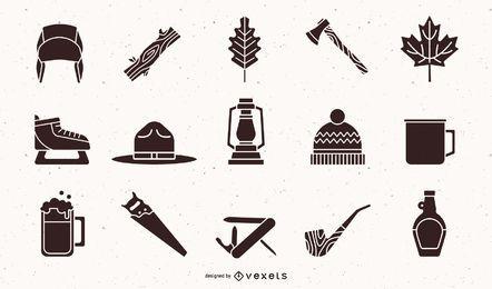 Pacote de Design de elemento de silhueta de lenhador