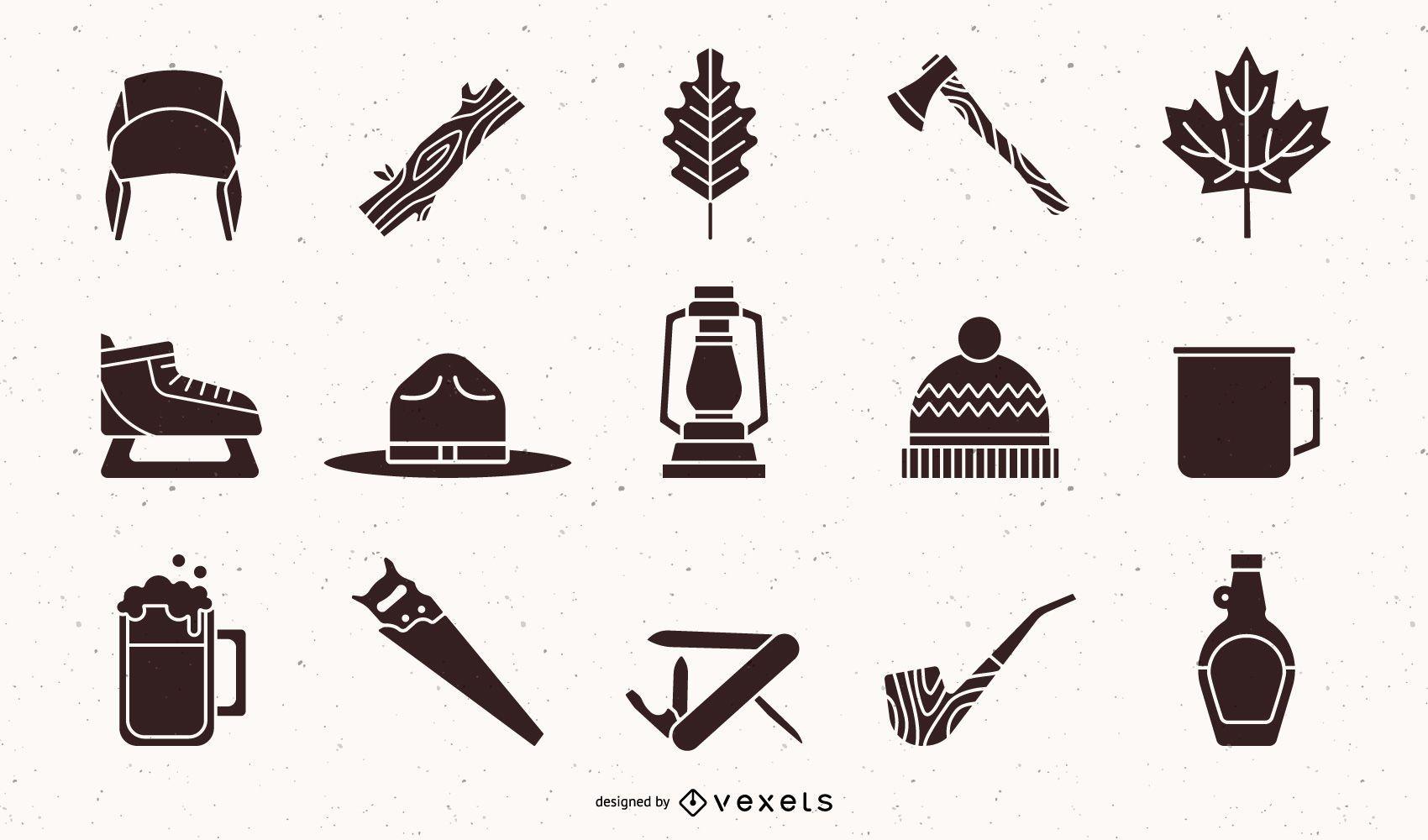 Paquete de diseño de elementos de silueta de leñador