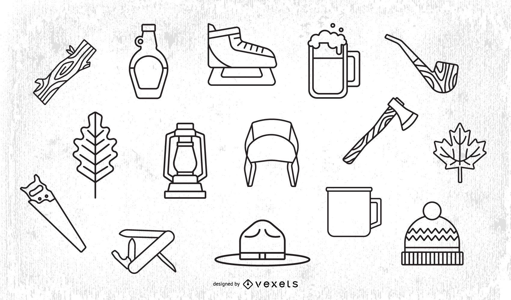 Paquete de diseño de trazo de elementos de leñador