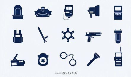Conjunto de silhueta de elementos de polícia