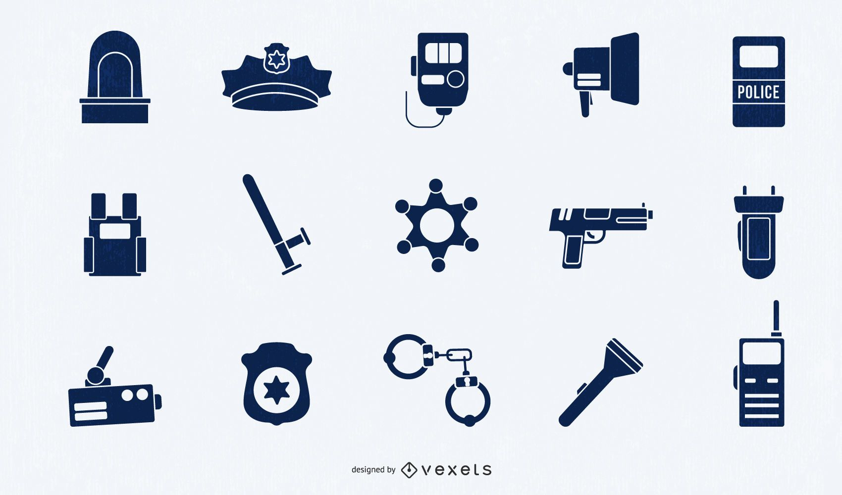 Police Elements Silhouette Set