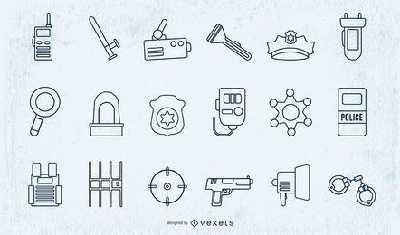 Conjunto de diseño de trazo de elementos de policía