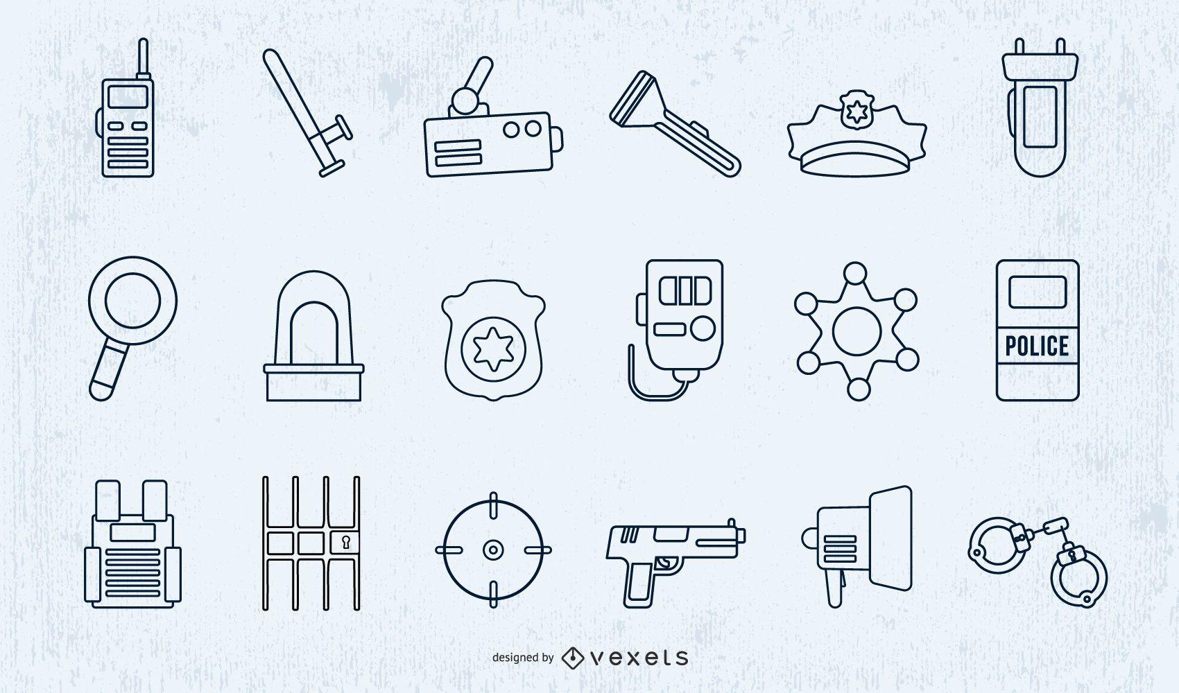 Police Elements Stroke Design Set