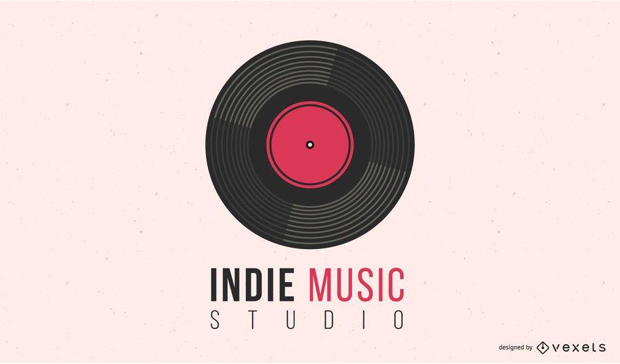 Design de logotipo de disco de vinil de música indie