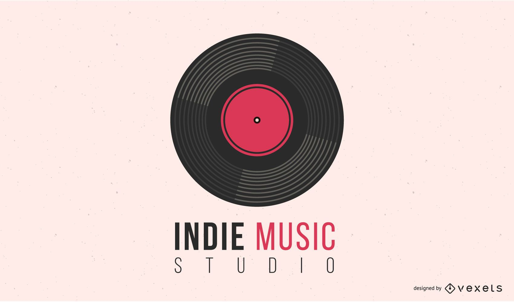 Diseño de logotipo de disco de vinilo de música indie