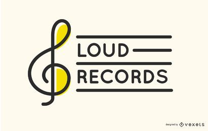 Treble Clef Record Label Logo Design