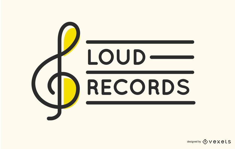 Design de logotipo de gravadora de clave de sol
