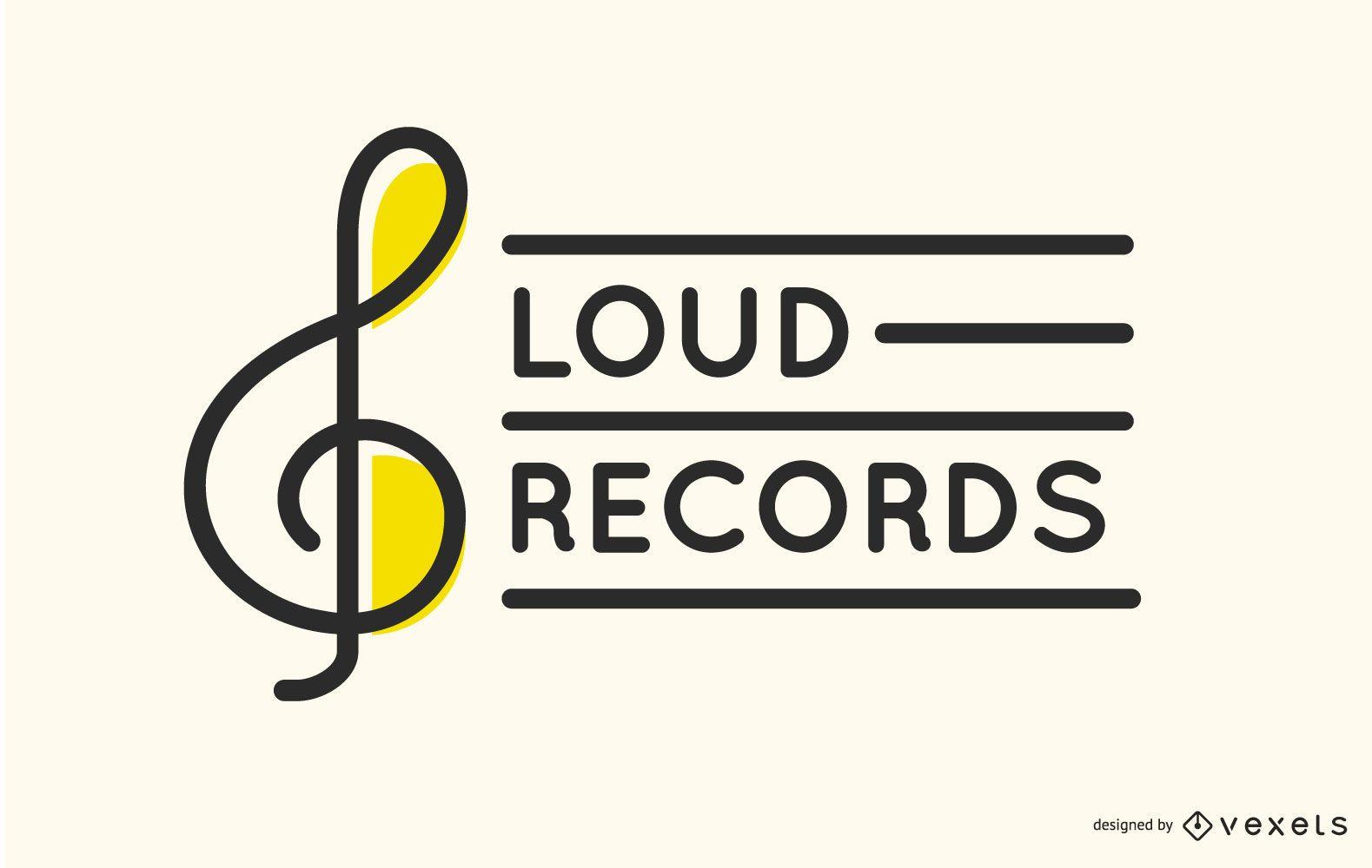 Diseño de logotipo de etiqueta de registro de clave de sol