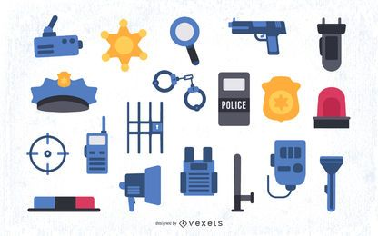 Colored Police Flat Elements Set