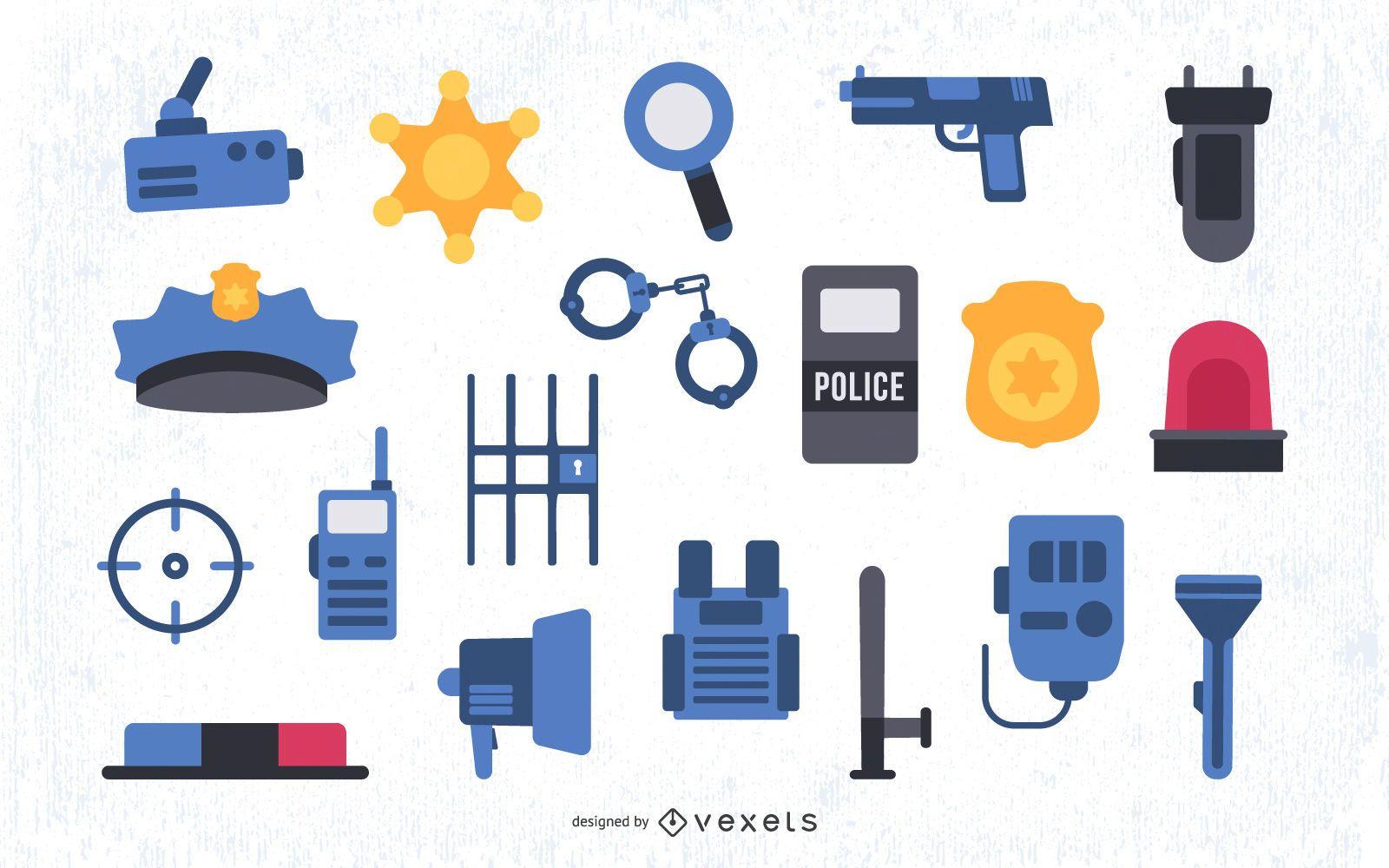 Conjunto de elementos planos de policía de colores