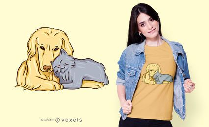 Dog and cat love t-shirt design