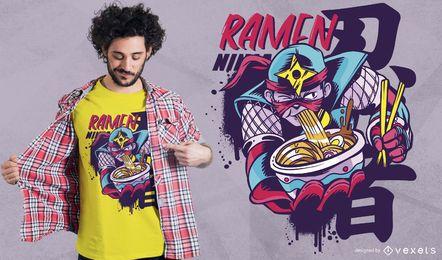 Diseño de camiseta ninja ramen