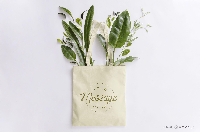 Tote bag floral mockup