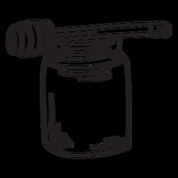 Honey dipper jar stroke